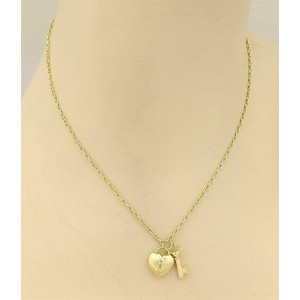 Tiffany Co 18k Yellow Gold Puff Heart Lock Key Pendant Necklace Tiffany Co Buy At Truefacet