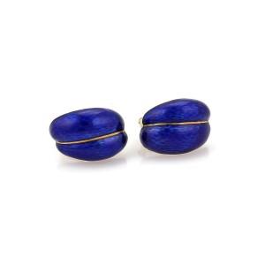 Vintage 18k YGold Blue Gullioche Enemal Curved Shell Post Clip Earrings