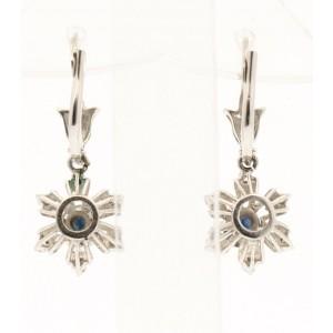 Fine Estate 18k White Gold Diamonds Oval sapphire Starburst Dangling Earrings