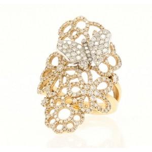 Fine Estate 18k Rose Gold Diamonds Flowers & Butterfly Ladies Ring Size 6.5