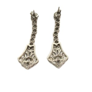 Vintage 2.00ct Diamond Platinum Long Milgrain Floral Dangle Earrings