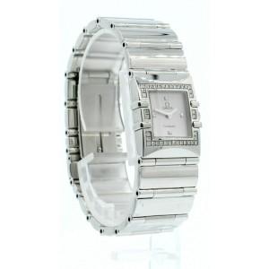 Ladies OMEGA Constellation QUADRA Diamond Stainless Steel Square Quartz Watch
