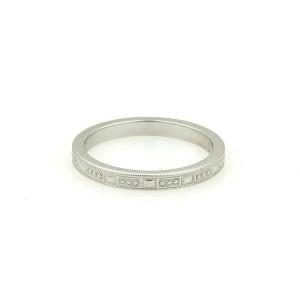 Tiffany & Co. Platinum Bead Milgrain Design 2.5mm Wide Band Ring Size - 9