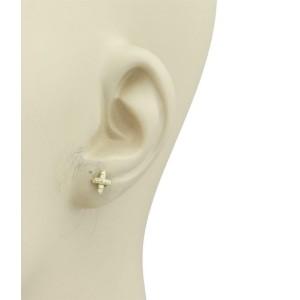 Tiffany & Co. Diamond 18k Yellow Gold Mini Cross Stitch Stud Earrings