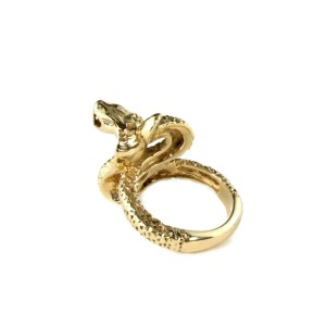 Vintage 18k Yellow Gold 3D Cobra Snake Ring Size - 9