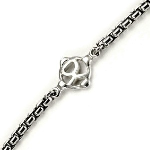 "David Yurman Sterling Silver 4 Station Leaf Design Long Chain Necklace 54"""