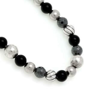 David Yurman Element Onyx Hematite 925 Silver Beaded Bracelet