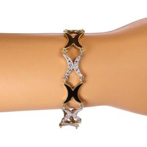 Vintage 1 Carat Diamond Onyx 14k Two Tone Gold Fancy X Link Bracelet