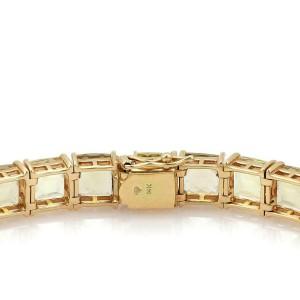 Vintage 52 Carats Square Cut Lemon Citrine 14k Yellow Gold Tennis Bracelet