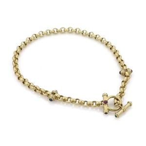 Estate Diamond & Gems 18k Yellow Gold Chain Toggle Clasp Necklace