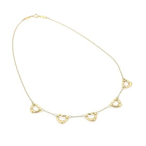 Tiffany & Co. Peretti 18k Yellow Gold 5 Open Heart Charms Necklace