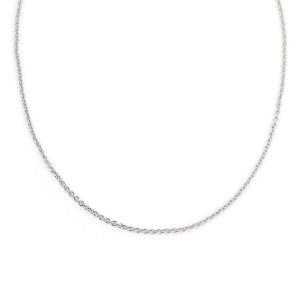 "Cartier 18k White Gold 2mm Oval Link Chain. 17"" Long w/Cert"
