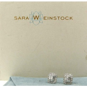 Sara Weinstock White 18k Gold Illusion 2.47ct Emerald Cut Studs Earrings