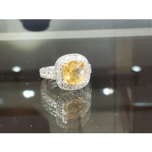 Fine Estate 14k White Gold Diamonds Yellow Topaz Ladies Ring Size 7