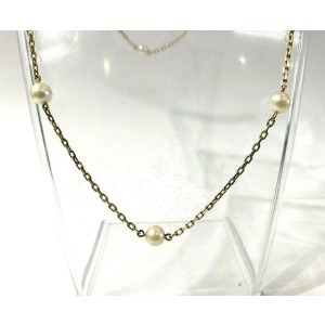 """Fine Estate 18k Yellow Gold Pearl Necklace 22"""""""