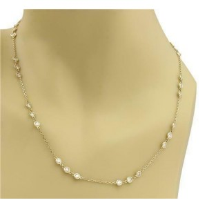 """New 2.65ct Diamond By The Yard 14k Yellow Gold Chain Necklace 30"""" Long"""