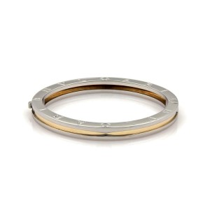 Bvlgari B Zero-1 Steel 18k Yellow Gold Engraved Bangle Bracelet 7.5""
