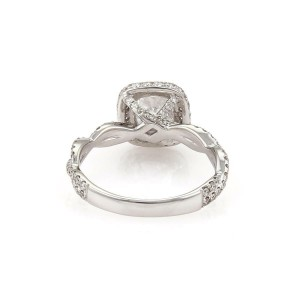 Diamond Solitaire 1.30ct Cushion Cut D-SI218k Gold Engagement Ring GIA Cert