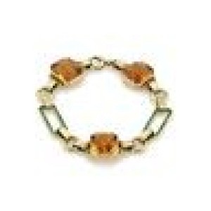 Vintage Citrine & Enamel 14k Yellow Gold Fancy Link Bracelet
