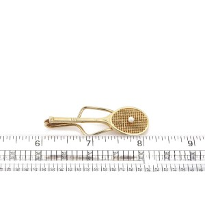 Vintage Tiffany & Co. 14k Yellow Gold Seed Pearl Tennis Racquet Money Clip