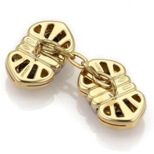 """Bvlgari Bulgari """"Doppio Cuore"""" 18k Yellow Gold & Steel Chain Cufflinks"""