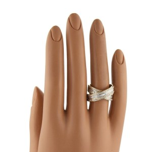 1.80ctw Diamond 14k Yellow Gold X Crossover Band Ring Size - 5.5
