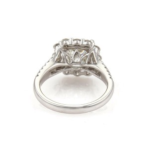 Diamond Solitaire w/Accent 1.20ct Cushion Cut F-SI1 18k Gold Engagement Ring GIA