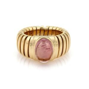 Bvlgari Bulgari 3.5ct Pink Tourmaline 18k Yellow Gold Tubogas Band Ring