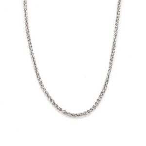 """Chopard 18k White Gold 2mm Thick Woven Link Chain 16.5"""" Long"""