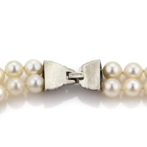 Vintage Judith Ripka Diamond Saltwater Pearls 18k White Gold Choker Necklace