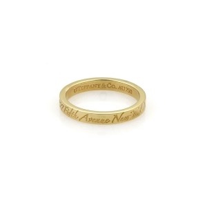 Tffany & Co. NOTES 18k Yellow Gold 3mm Wide Wedding Band Ring Size - 4.25
