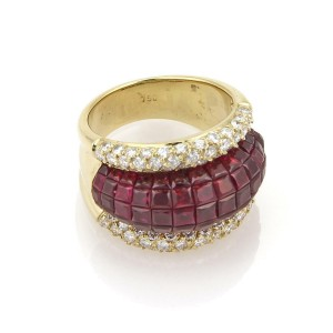 Estate 8.5ctw Diamond & Invisible Ruby 18k Yellow Gold Dome Band Ring Size - 6