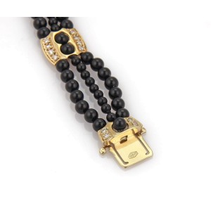 Vintage Diamond & Onyx 14k Yellow Gold Triple Strand Fancy Bead Bracelet