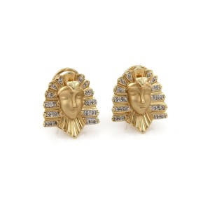 Vintage Diamond 14k Two Tone Gold Egyptian Cleopatra Post Clip Earrings