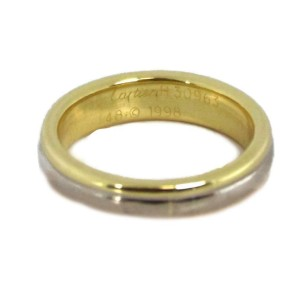 Cartier 18k Tri-Color Gold 4.5mm Wide Stack Band Ring Size 48-US 4.5
