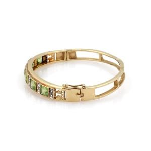 Vintage 9.55ct Peridot & Rose Cut Diamond 14k Yellow Gold Bangle Bracelet
