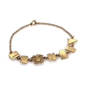 Vintage 10k Yellow Gold US NAVY Eagle Charm Bracelet
