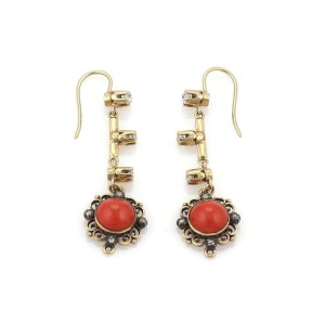 Antique Diamond & Coral 18k Yellow Gold Floral Long Hook Dangle Earrings
