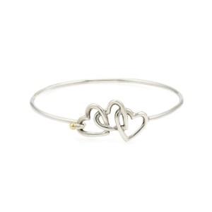 Tiffany & Co. 1990 Sterling 18k Yellow Gold Triple Hearts Hook Bangle
