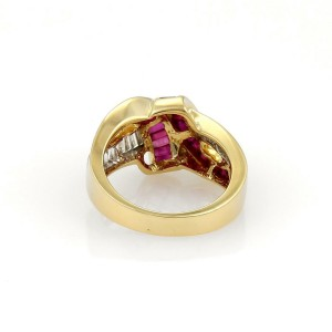 Estate 2.50ct Diamond & Ruby Fancy Ribbon Style Ring in 18k Yellow Gold