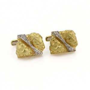 Vintage Diamond 18k Two Tone Gold Double Face Stud Cufflinks