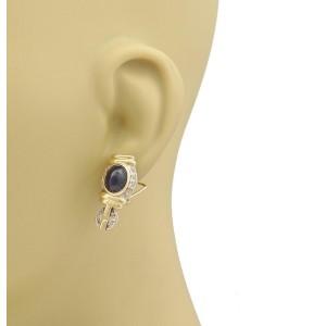 Estate 6.25ct Diamond & Cabochon Sapphire Fancy Post Clip 14k Gold Earrings