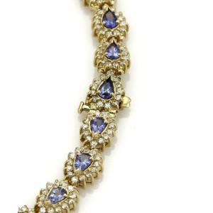 Estate 23.50ct Tanzanite & Diamond 14k Yellow Gold Collar Necklace