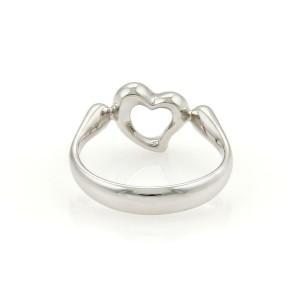 Tiffany & Co. Peretti Platinum & Diamond Open Heart Ring Size 5