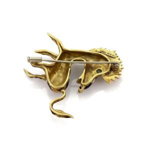 Vintage 18k Yellow Gold Emerald & Ruby Enamel Zebra Brooch Pin