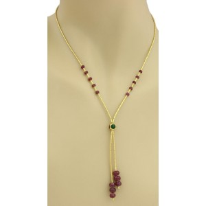 Estate 24k Yellow Gold Ruby & Enamel Straw Links Double Tassel Necklace