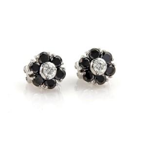 3.45ct Black & White Diamond 18k White Gold Floral Post Clip Earrings