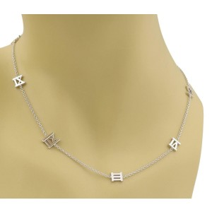 Tiffany & Co. ATLAS 18k White Gold 16 Roman Numeral Charms Long Necklace