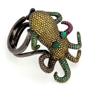Stunning 30.50ct Diamond Sapphire Tsavorite 18k Gold Large Squid Bracelet