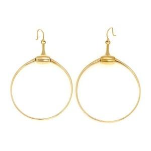 Gucci 18k Yellow Gold Horse Bit Hook Backs Swinging Hoop Earrings